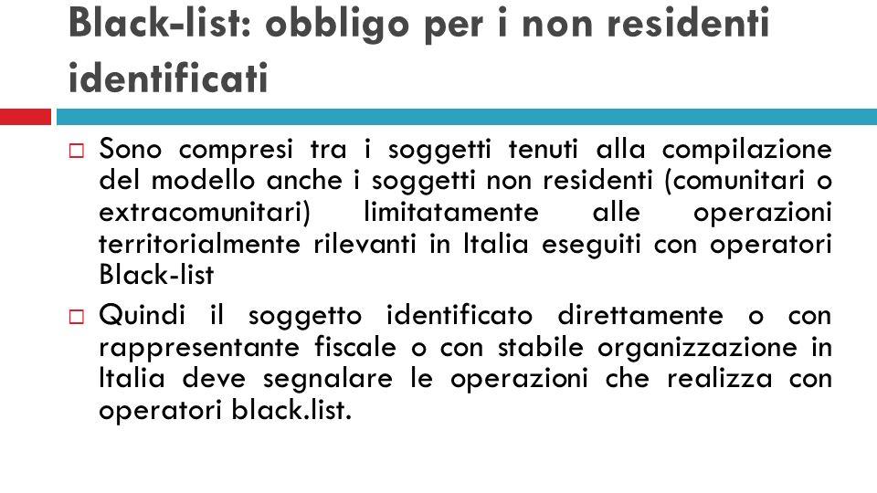 Black-list: obbligo per i non residenti identificati Sono compresi tra i soggetti tenuti alla compilazione del modello anche i soggetti non residenti