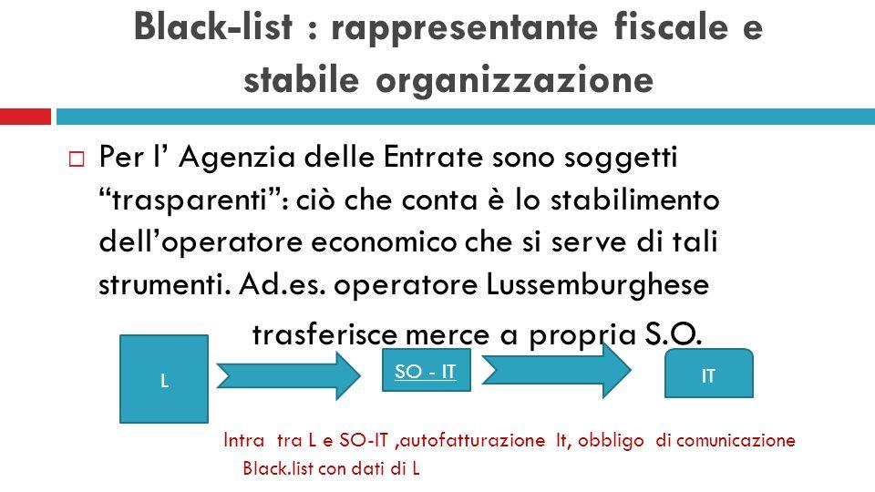 Black-list : ambito oggettivo Devono essere comunicate: Le cessioni di beni Le prestazioni di servizi rese sia in UE che extraUE Gli acquisti di beni Le prestazioni di servizi ricevute