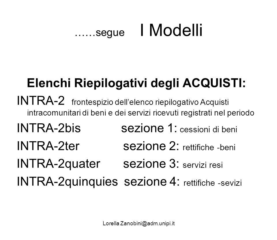 ……segue I Modelli Elenchi Riepilogativi degli ACQUISTI: INTRA-2 frontespizio dellelenco riepilogativo Acquisti intracomunitari di beni e dei servizi r