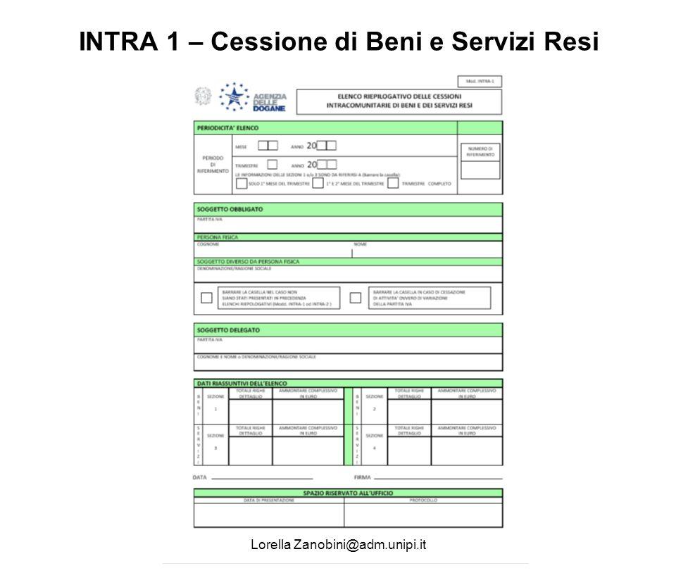 INTRA 1 – Cessione di Beni e Servizi Resi Lorella Zanobini@adm.unipi.it