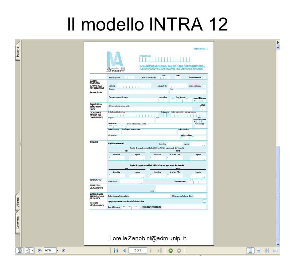 Il modello INTRA 12 Lorella Zanobini@adm.unipi.it