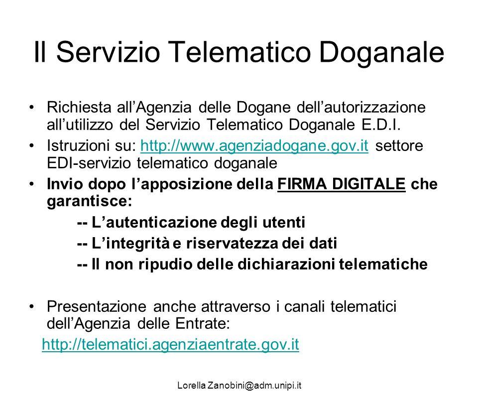 Il Servizio Telematico Doganale Richiesta allAgenzia delle Dogane dellautorizzazione allutilizzo del Servizio Telematico Doganale E.D.I. Istruzioni su