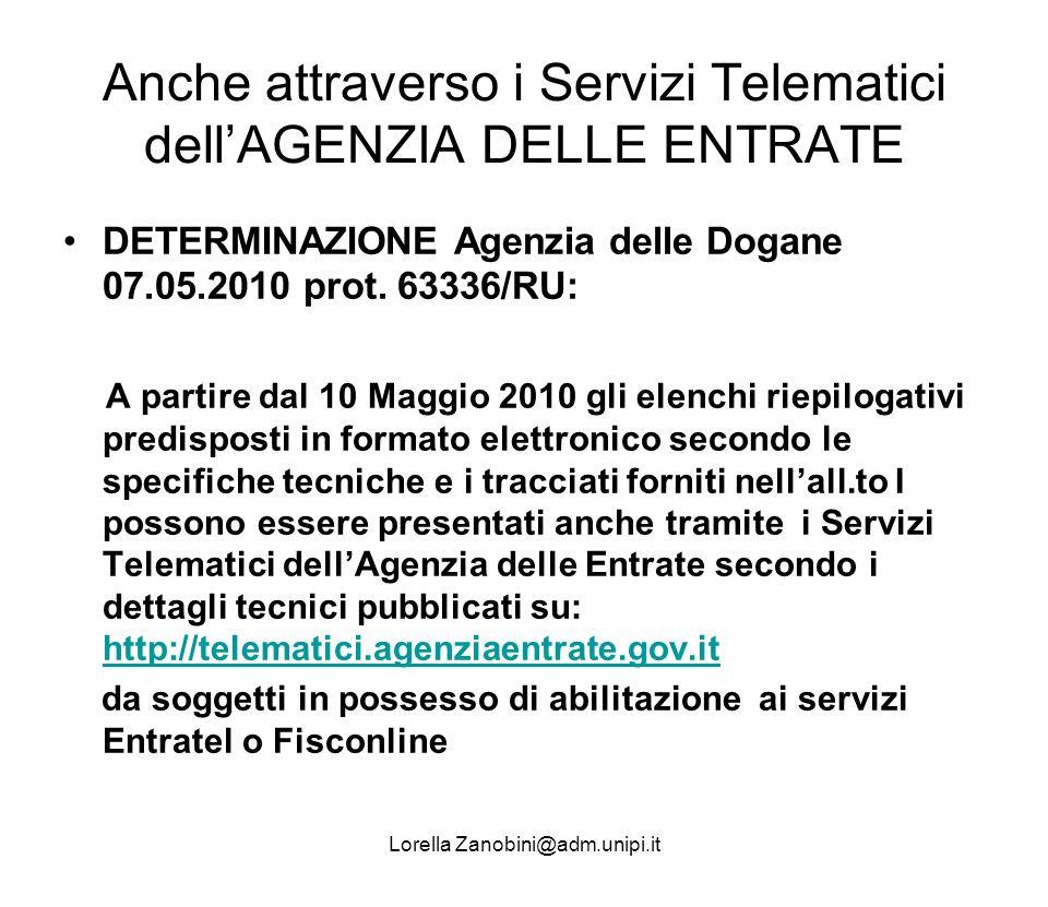Anche attraverso i Servizi Telematici dellAGENZIA DELLE ENTRATE DETERMINAZIONE Agenzia delle Dogane 07.05.2010 prot. 63336/RU: A partire dal 10 Maggio