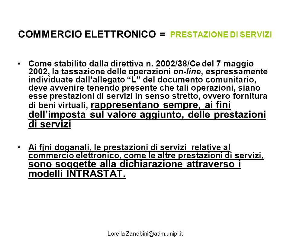 COMMERCIO ELETTRONICO = PRESTAZIONE DI SERVIZI Come stabilito dalla direttiva n. 2002/38/Ce del 7 maggio 2002, la tassazione delle operazioni on-line,