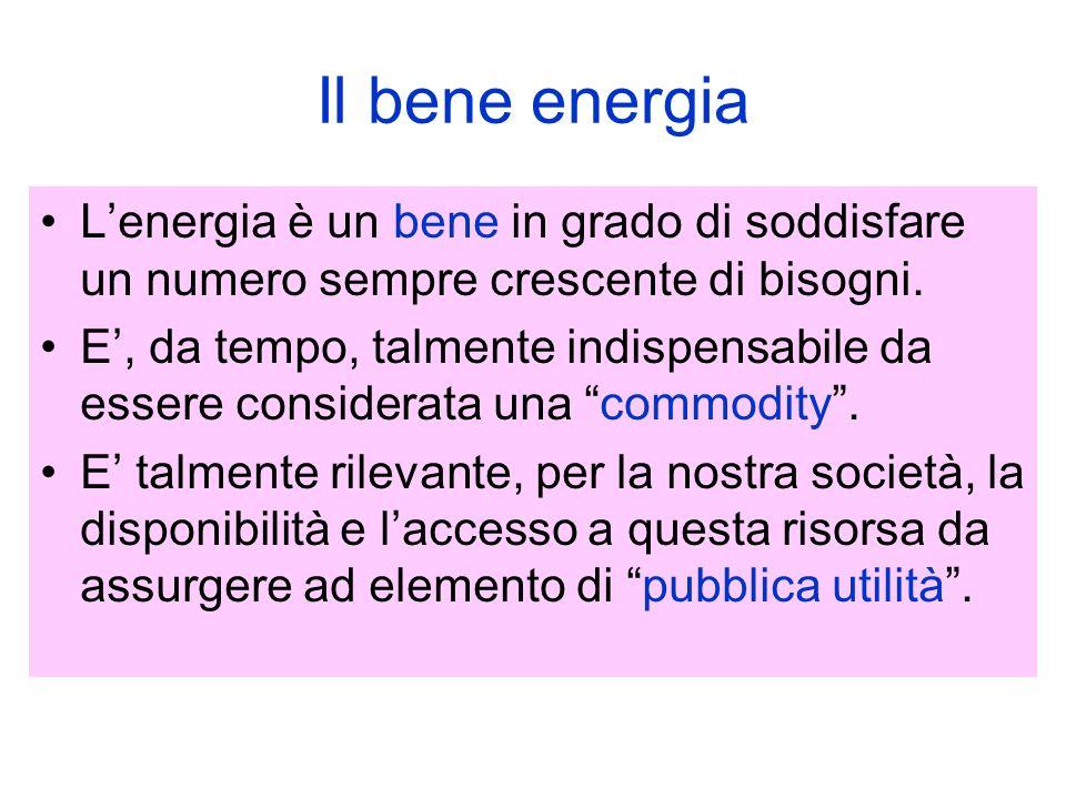 Il bene energia Lenergia è un bene in grado di soddisfare un numero sempre crescente di bisogni.
