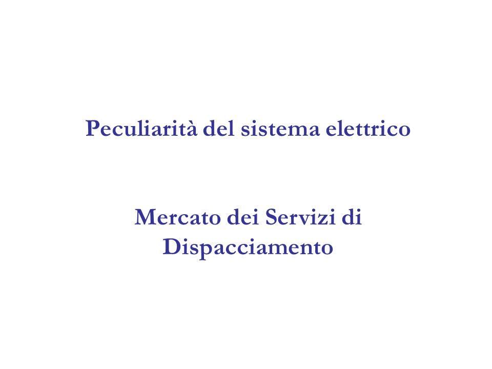 Peculiarità del sistema elettrico Mercato dei Servizi di Dispacciamento