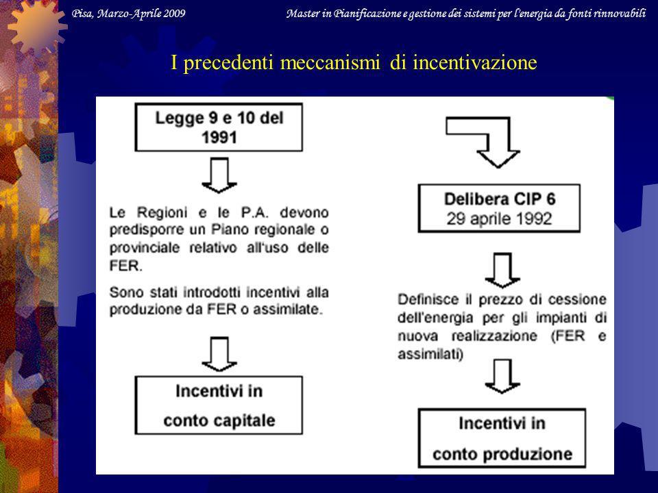 Pisa, Marzo-Aprile 2009 Master in Pianificazione e gestione dei sistemi per l energia da fonti rinnovabili Tariffe omnicomprensive (sbloccate a conguaglio dal DM 18/12/08 e dalla corrispondente Del.AEEG 01/09) In alternativa al meccanismo di valorizzazione dell energia prodotta (Certificati Verdi), per gli impianti da FR con 1 kW P n 1 MW e (eolico fino 200 kW, v.DM 18/12/08) la Finanziaria 2008 ha previsto una tariffa omnicomprensiva di CESSIONE alla rete: 30 Secondo il DM 18.12.08: in attesa di decreto attuativo, si applica 22 c/kWh 30 7.Bis (legge 222/07): 30 c/kWh anche per biomasse e biogas non da filiera corta, purché ottenuti nellambito di intese di filiera o contratti quadro ai sensi degli artt.