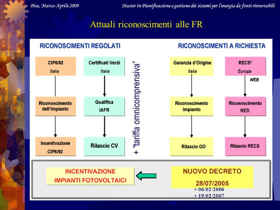 Pisa, Marzo-Aprile 2009 Master in Pianificazione e gestione dei sistemi per l energia da fonti rinnovabili Impianti entrati in esercizio prima del 31/12/07 Delle disposizioni inserite nella Finanz.