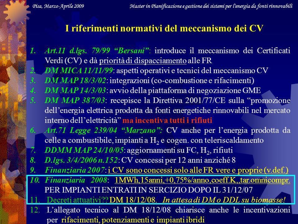 Pisa, Marzo-Aprile 2009 Master in Pianificazione e gestione dei sistemi per l energia da fonti rinnovabili Energia elettrica ammessa a ricevere i CV (./..) Tipologia degli impianti (IAFR): - alimentati da FR vere e proprie (v.