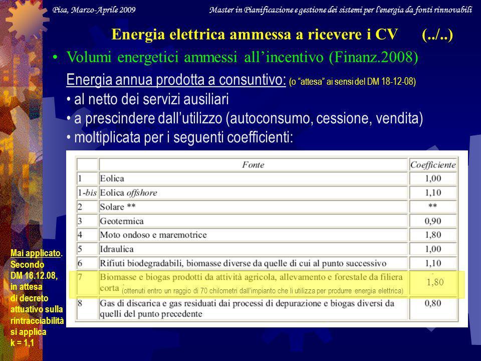 Pisa, Marzo-Aprile 2009 Master in Pianificazione e gestione dei sistemi per l energia da fonti rinnovabili Energia elettrica ammessa a ricevere i CV (../..) Volumi energetici ammessi allincentivo (Finanz.2008) Energia annua prodotta a consuntivo: (o attesa ai sensi del DM 18-12-08) al netto dei servizi ausiliari a prescindere dallutilizzo (autoconsumo, cessione, vendita) moltiplicata per i seguenti coefficienti: 1,80 (ottenuti entro un raggio di 70 chilometri dall impianto che li utilizza per produrre energia elettrica) Mai applicato.