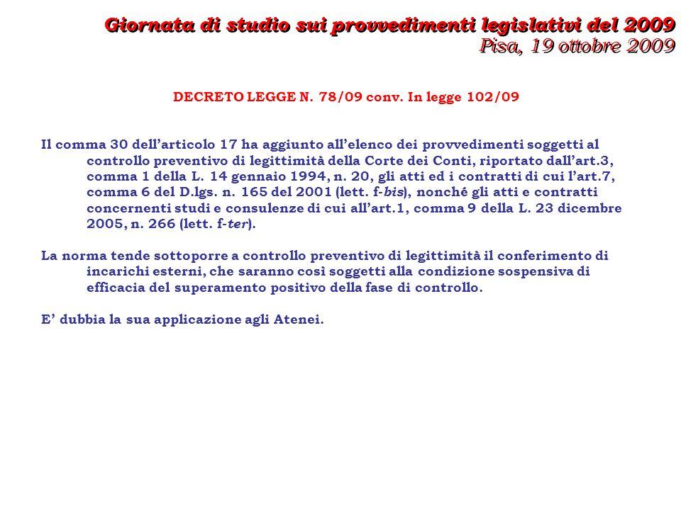 DECRETO LEGGE N. 78/09 conv.