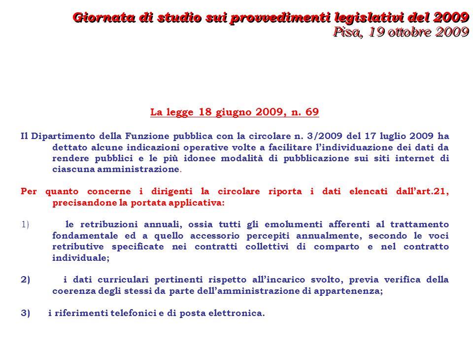 La legge 18 giugno 2009, n. 69 Il Dipartimento della Funzione pubblica con la circolare n.