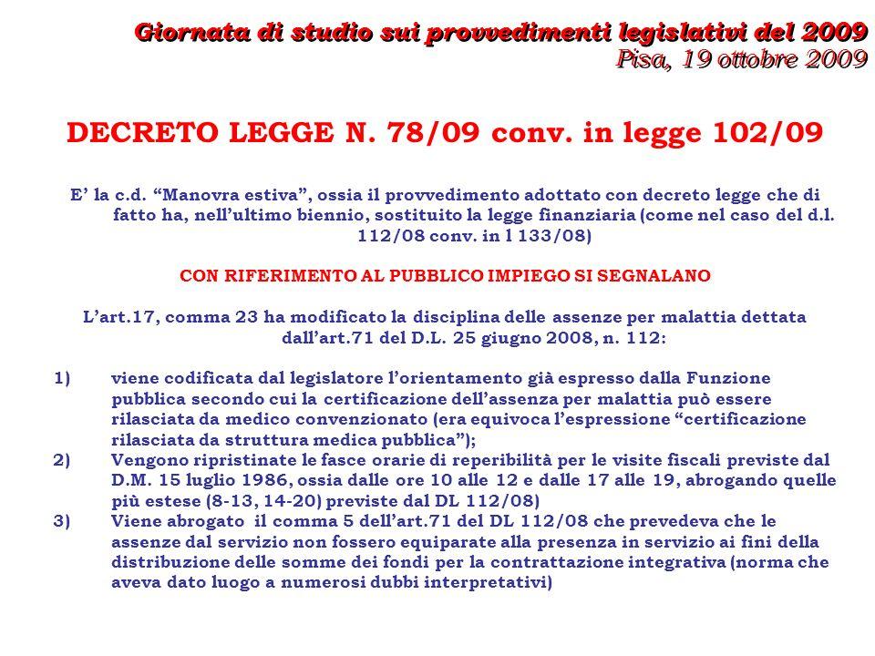 DECRETO LEGGE N.78/09 conv.