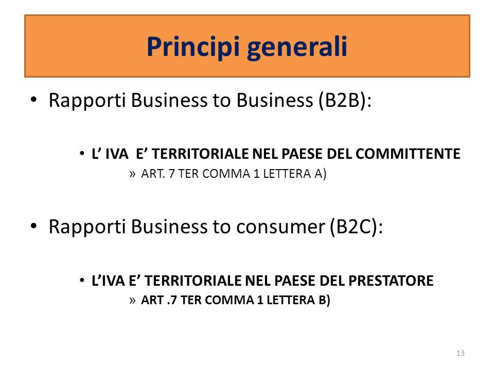 Principi generali Rapporti Business to Business (B2B): L IVA E TERRITORIALE NEL PAESE DEL COMMITTENTE » ART. 7 TER COMMA 1 LETTERA A) Rapporti Busines