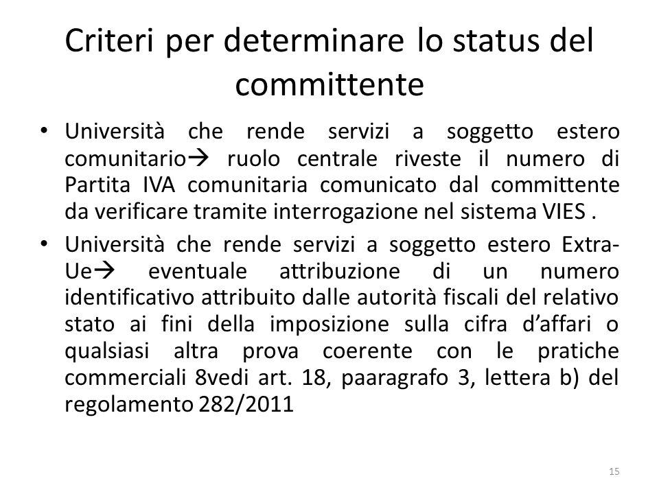 Criteri per determinare lo status del committente Università che rende servizi a soggetto estero comunitario ruolo centrale riveste il numero di Parti