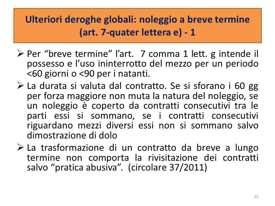 Ulteriori deroghe globali: noleggio a breve termine (art. 7-quater lettera e) - 1 Per breve termine lart. 7 comma 1 lett. g intende il possesso e luso