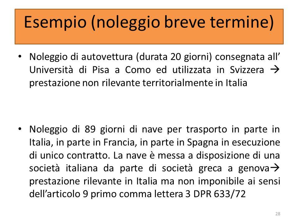 Esempio (noleggio breve termine) Noleggio di autovettura (durata 20 giorni) consegnata all Università di Pisa a Como ed utilizzata in Svizzera prestaz