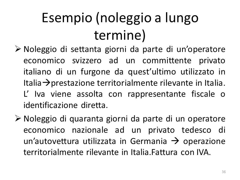 Esempio (noleggio a lungo termine) Noleggio di settanta giorni da parte di unoperatore economico svizzero ad un committente privato italiano di un fur