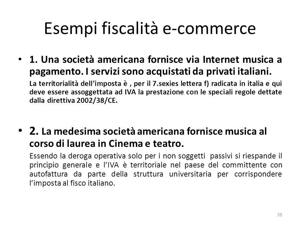 Esempi fiscalità e-commerce 1. Una società americana fornisce via Internet musica a pagamento. I servizi sono acquistati da privati italiani. La terri