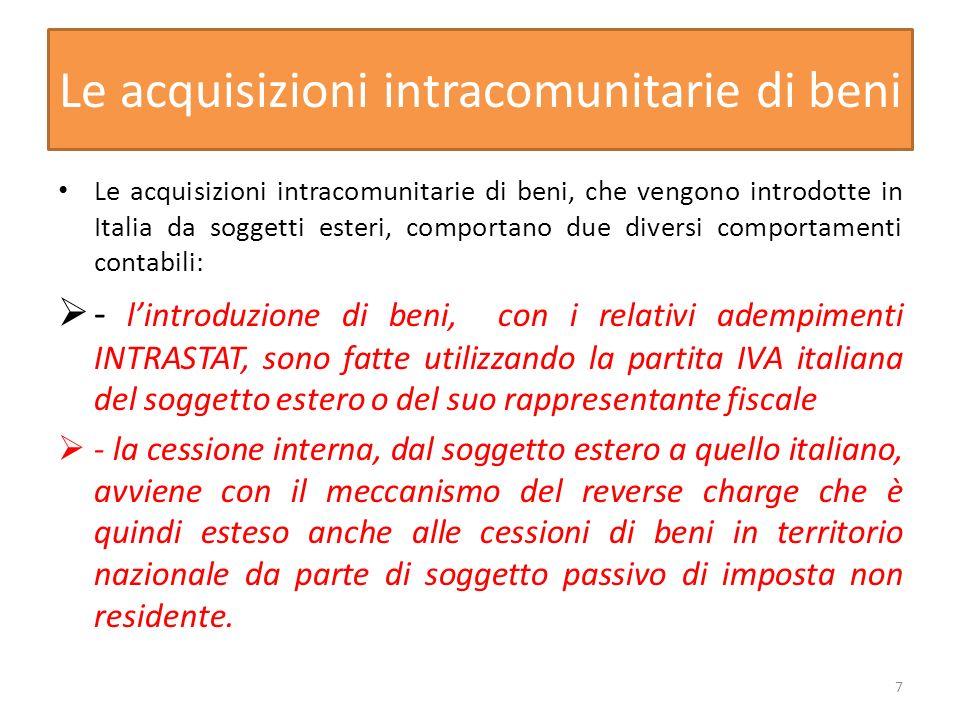 Le acquisizioni intracomunitarie di beni Le acquisizioni intracomunitarie di beni, che vengono introdotte in Italia da soggetti esteri, comportano due