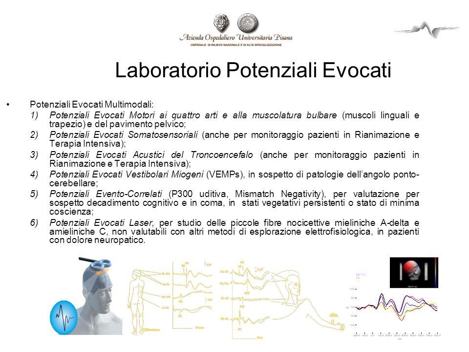Laboratorio Potenziali Evocati Potenziali Evocati Multimodali: 1)Potenziali Evocati Motori ai quattro arti e alla muscolatura bulbare (muscoli lingual