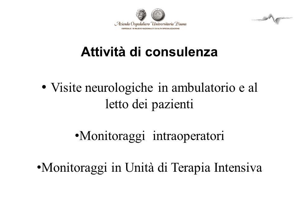 Attività di consulenza Visite neurologiche in ambulatorio e al letto dei pazienti Monitoraggi intraoperatori Monitoraggi in Unità di Terapia Intensiva