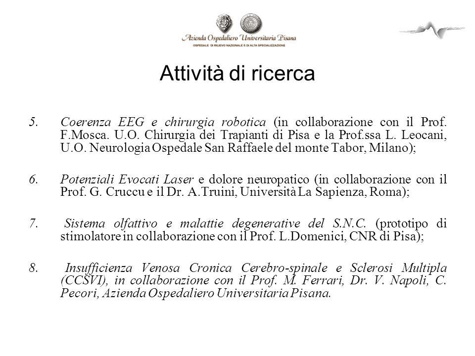 Attività di ricerca 5.Coerenza EEG e chirurgia robotica (in collaborazione con il Prof. F.Mosca. U.O. Chirurgia dei Trapianti di Pisa e la Prof.ssa L.