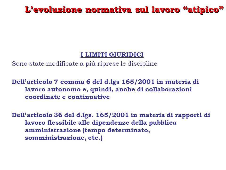 I LIMITI GIURIDICI Sono state modificate a più riprese le discipline Dellarticolo 7 comma 6 del d.lgs 165/2001 in materia di lavoro autonomo e, quindi, anche di collaborazioni coordinate e continuative Dellarticolo 36 del d.lgs.