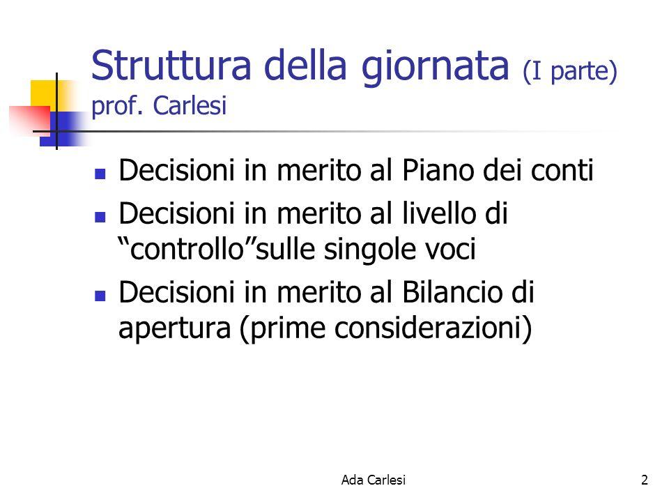 Ada Carlesi2 Struttura della giornata (I parte) prof. Carlesi Decisioni in merito al Piano dei conti Decisioni in merito al livello di controllosulle