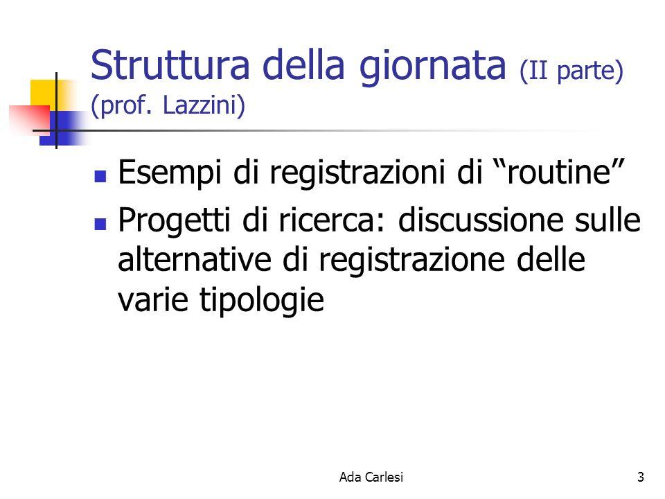 Ada Carlesi3 Struttura della giornata (II parte) (prof. Lazzini) Esempi di registrazioni di routine Progetti di ricerca: discussione sulle alternative