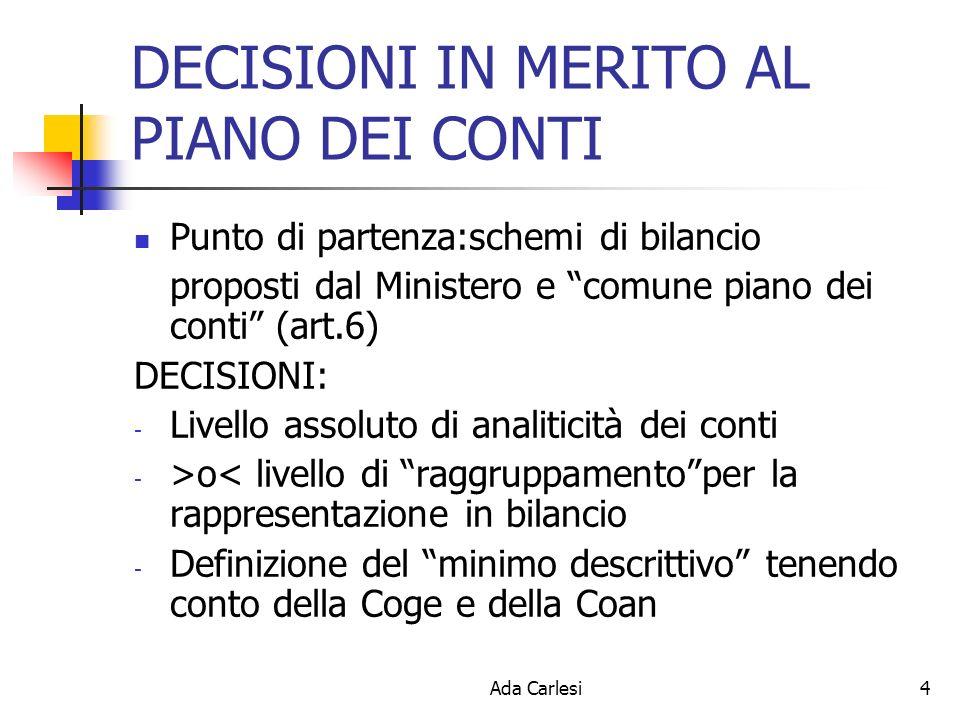 Ada Carlesi4 DECISIONI IN MERITO AL PIANO DEI CONTI Punto di partenza:schemi di bilancio proposti dal Ministero e comune piano dei conti (art.6) DECISIONI: - Livello assoluto di analiticità dei conti - >o< livello di raggruppamentoper la rappresentazione in bilancio - Definizione del minimo descrittivo tenendo conto della Coge e della Coan