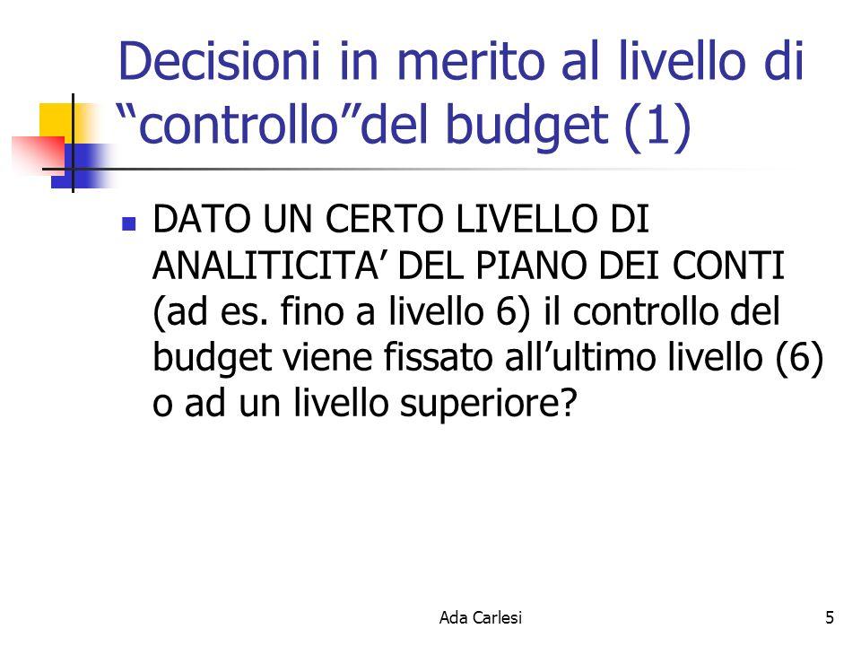 Ada Carlesi5 Decisioni in merito al livello di controllodel budget (1) DATO UN CERTO LIVELLO DI ANALITICITA DEL PIANO DEI CONTI (ad es. fino a livello