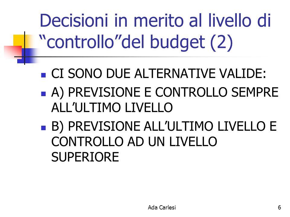 Ada Carlesi6 Decisioni in merito al livello di controllodel budget (2) CI SONO DUE ALTERNATIVE VALIDE: A) PREVISIONE E CONTROLLO SEMPRE ALLULTIMO LIVELLO B) PREVISIONE ALLULTIMO LIVELLO E CONTROLLO AD UN LIVELLO SUPERIORE