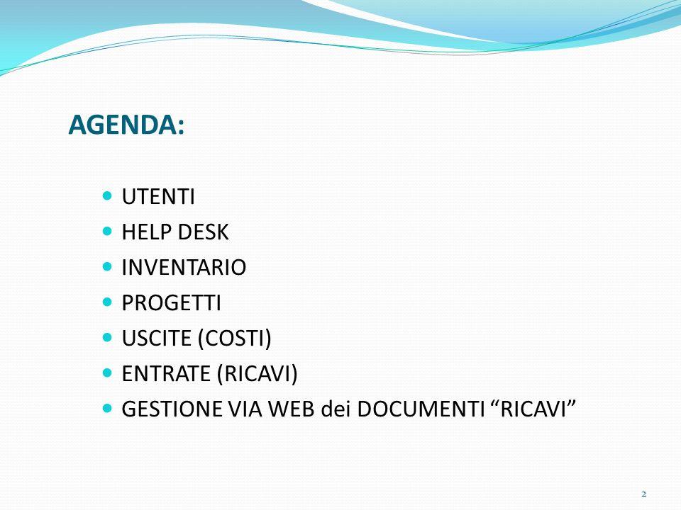 AGENDA: UTENTI HELP DESK INVENTARIO PROGETTI USCITE (COSTI) ENTRATE (RICAVI) GESTIONE VIA WEB dei DOCUMENTI RICAVI 2