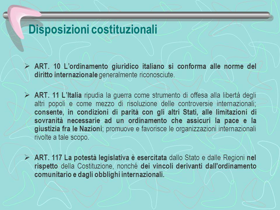 Disposizioni costituzionali ART. 10 Lordinamento giuridico italiano si conforma alle norme del diritto internazionale generalmente riconosciute. ART.