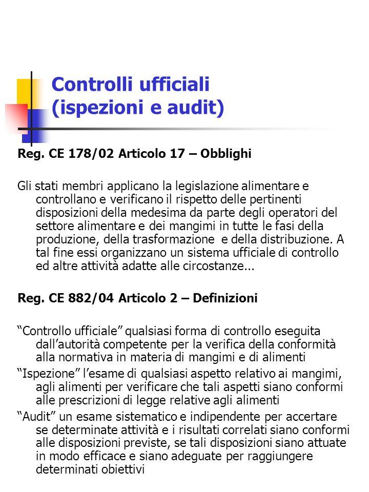 Controlli ufficiali (ispezioni e audit) Reg. CE 178/02 Articolo 17 – Obblighi Gli stati membri applicano la legislazione alimentare e controllano e ve