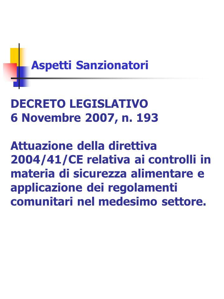 Aspetti Sanzionatori DECRETO LEGISLATIVO 6 Novembre 2007, n. 193 Attuazione della direttiva 2004/41/CE relativa ai controlli in materia di sicurezza a