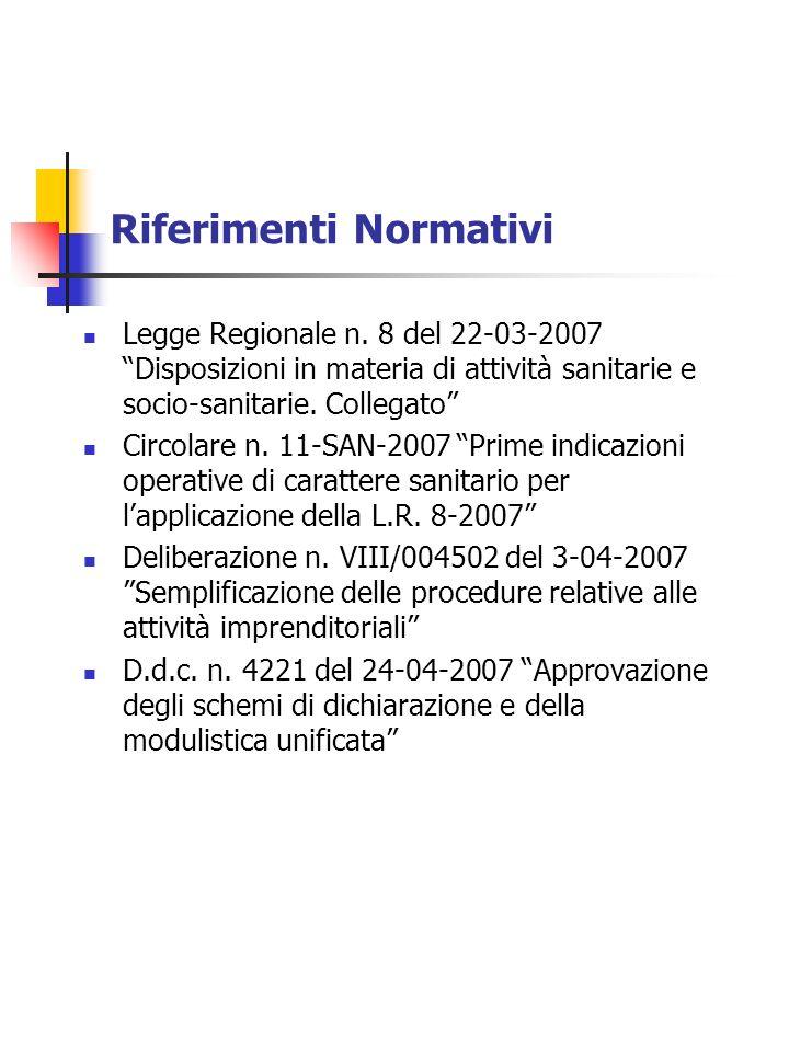 Riferimenti Normativi Legge Regionale n. 8 del 22-03-2007 Disposizioni in materia di attività sanitarie e socio-sanitarie. Collegato Circolare n. 11-S