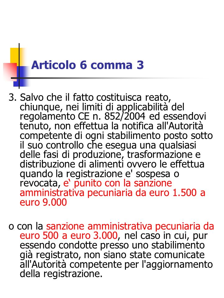 Articolo 6 comma 3 3. Salvo che il fatto costituisca reato, chiunque, nei limiti di applicabilità del regolamento CE n. 852/2004 ed essendovi tenuto,