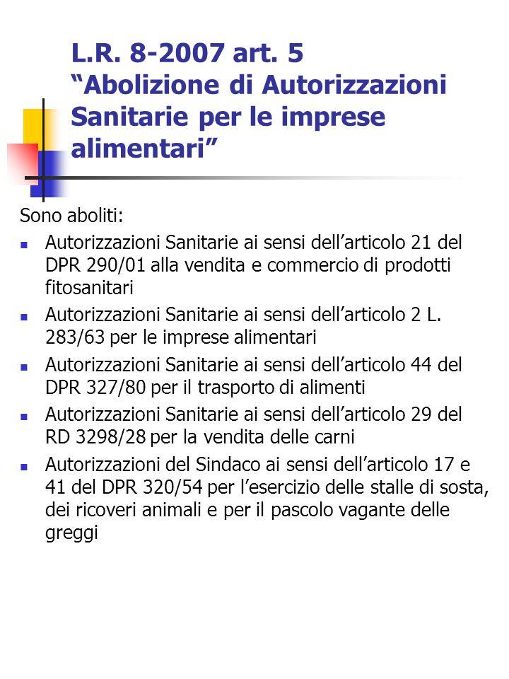 L.R. 8-2007 art. 5 Abolizione di Autorizzazioni Sanitarie per le imprese alimentari Sono aboliti: Autorizzazioni Sanitarie ai sensi dellarticolo 21 de