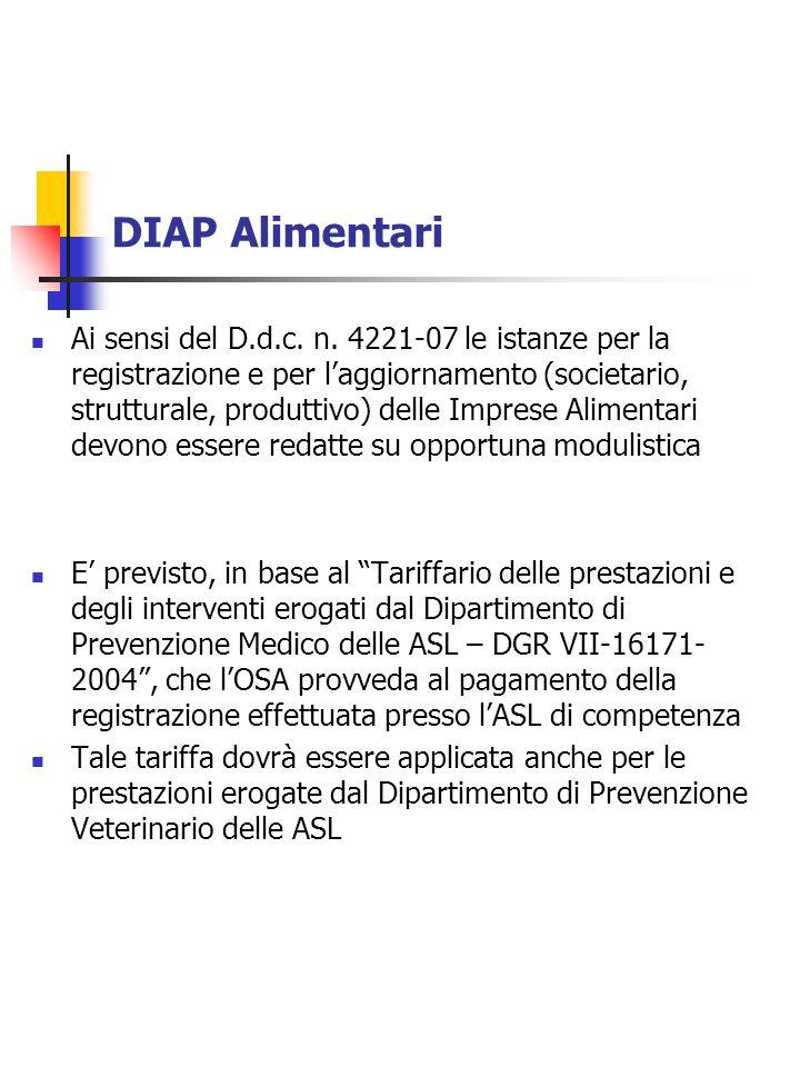 DIAP Alimentari Ai sensi del D.d.c. n. 4221-07 le istanze per la registrazione e per laggiornamento (societario, strutturale, produttivo) delle Impres