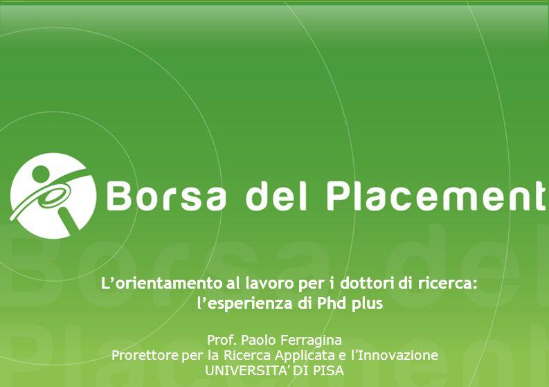 Prof. Paolo Ferragina Prorettore per la Ricerca Applicata e lInnovazione UNIVERSITA DI PISA Lorientamento al lavoro per i dottori di ricerca: lesperie