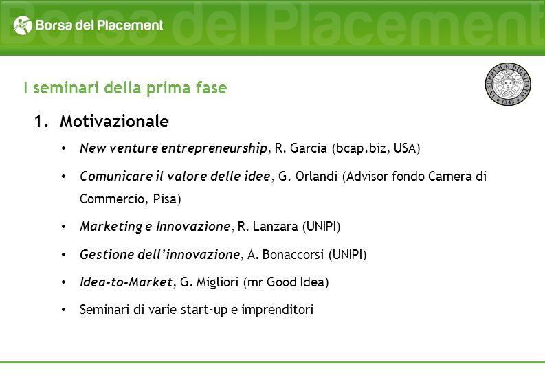 1.Motivazionale New venture entrepreneurship, R. Garcia (bcap.biz, USA) Comunicare il valore delle idee, G. Orlandi (Advisor fondo Camera di Commercio