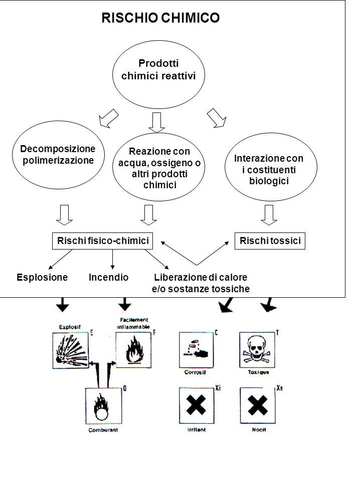 RISCHIO CHIMICO Prodotti chimici reattivi Decomposizione polimerizazione Reazione con acqua, ossigeno o altri prodotti chimici Interazione con i costi