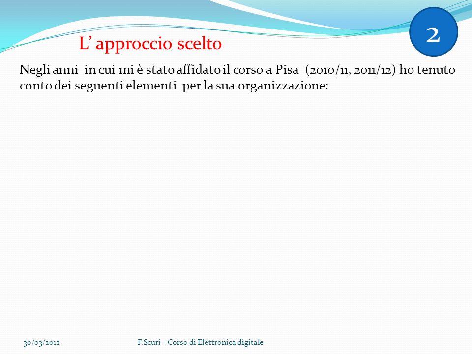 L approccio scelto Negli anni in cui mi è stato affidato il corso a Pisa (2010/11, 2011/12) ho tenuto conto dei seguenti elementi per la sua organizzazione: 2 30/03/2012F.Scuri - Corso di Elettronica digitale