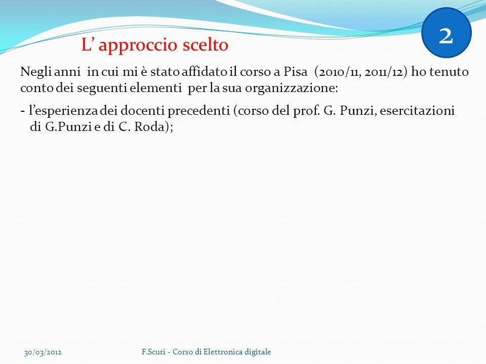 L approccio scelto Negli anni in cui mi è stato affidato il corso a Pisa (2010/11, 2011/12) ho tenuto conto dei seguenti elementi per la sua organizzazione: - lesperienza dei docenti precedenti (corso del prof.