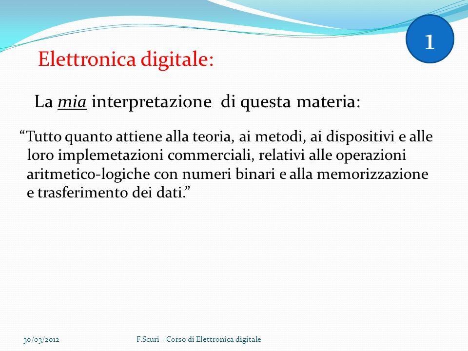 Elettronica digitale: La mia interpretazione di questa materia: Tutto quanto attiene alla teoria, ai metodi, ai dispositivi e alle loro implemetazioni commerciali, relativi alle operazioni aritmetico-logiche con numeri binari e alla memorizzazione e trasferimento dei dati.