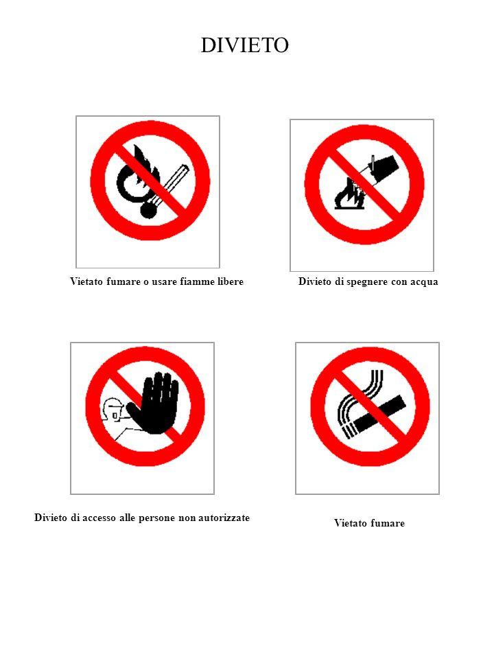 DIVIETO Vietato fumare o usare fiamme libere Divieto di spegnere con acqua Divieto di accesso alle persone non autorizzate Vietato fumare