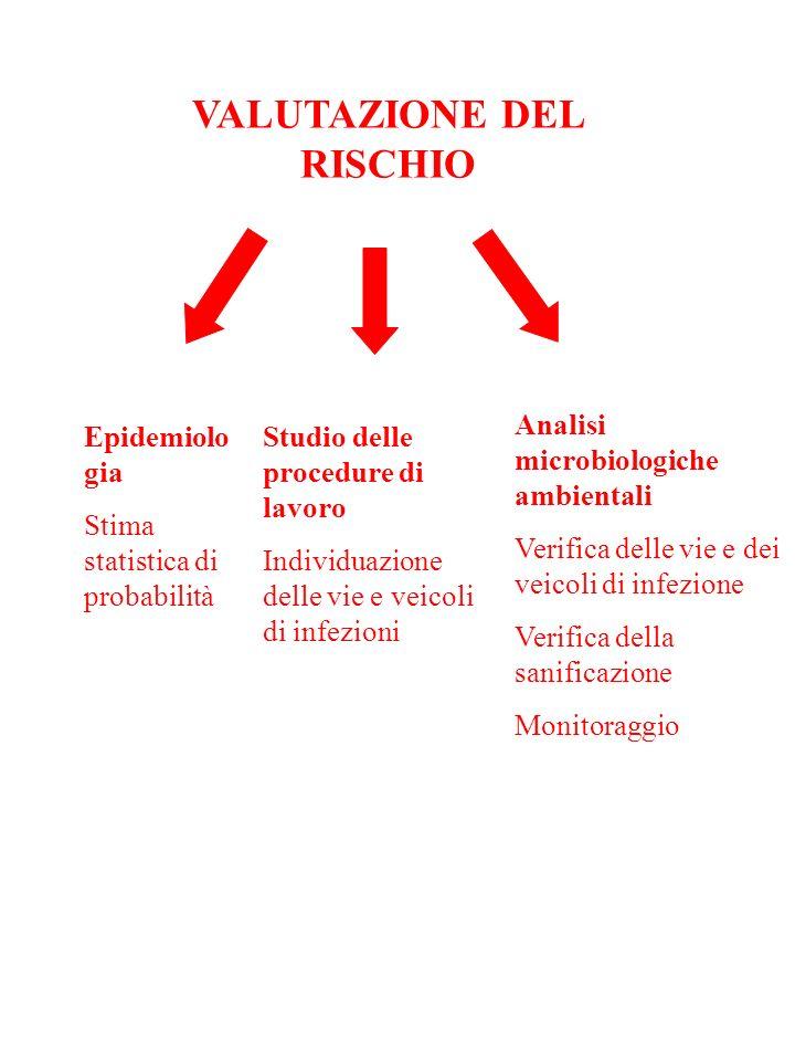 VALUTAZIONE DEL RISCHIO Epidemiolo gia Stima statistica di probabilità Studio delle procedure di lavoro Individuazione delle vie e veicoli di infezion