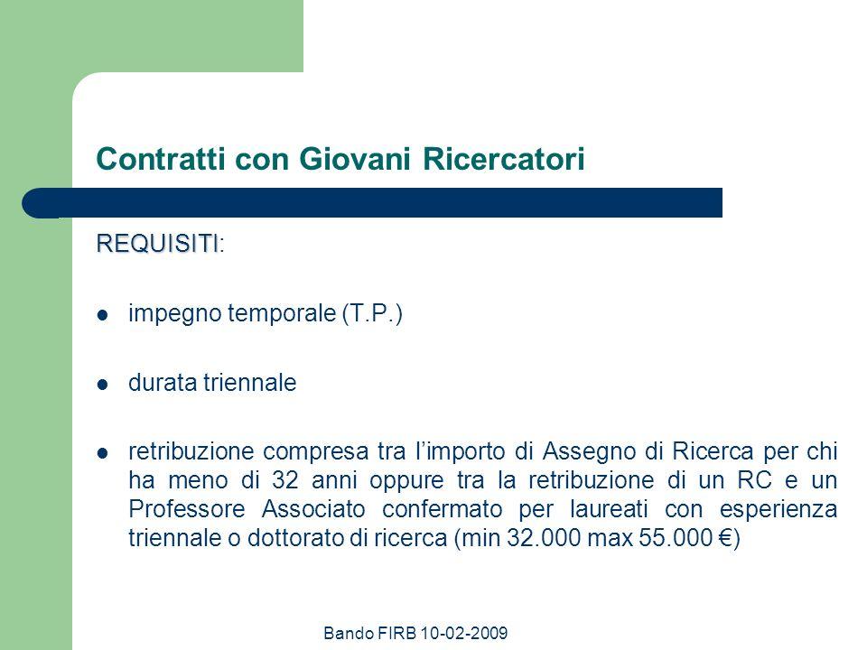 Bando FIRB 10-02-2009 Contratti con Giovani Ricercatori REQUISITI REQUISITI: impegno temporale (T.P.) durata triennale retribuzione compresa tra limpo